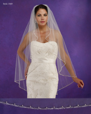 "Marionat Bridal Veils 3569 - 42"" Long angel cut beaded edge - The Bridal Veil Company"