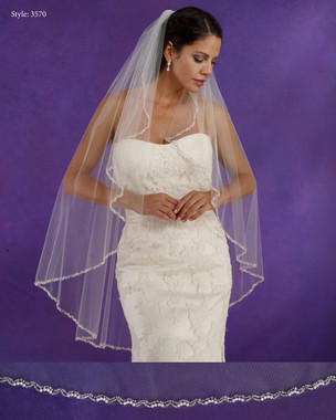 "Marionat Bridal Veils 3570 - 42"" Long angel cut beaded pearl edge - The Bridal Veil Company"