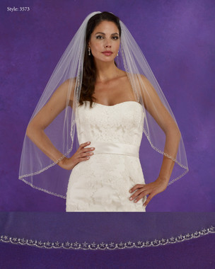 "Marionat Bridal Veils 3573 - 36"" Long beaded edge - The Bridal Veil Company"