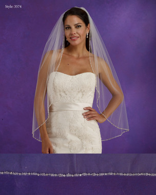 "Marionat Bridal Veils 3574 - 36"" Long beaded edge - The Bridal Veil Company"