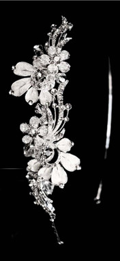 Noelle & Ava - Unforgettable Artfully Arranged Bouquet Of Rhinestones Flowers Side Band With Hand Twisted Crystals, Butterfly Shaped Silver Petals With Rhinestone Accents