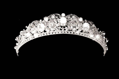 Noelle & Ava - Regal Tiara Of Dimensional Hand-Wired Crystals Surrounding Three Jumbo Pear-Cut Rhinestones Enclosed In Scalloped Arches