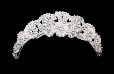 Noelle & Ava - Charming Laced Flower Crown Accented With Pearl Flowers With Rhinestone Center, And Scattered Rhinestones