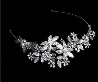 Noelle & Ava - Floral Side Band Of Rhinestone Flowers With Metallic Leaves Accented With Floating Crystals