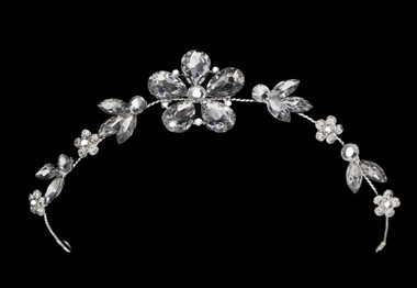 Noelle & Ava - Pliable Multiple Use Floral Head Piece With Precious Rhinestones And Marquises