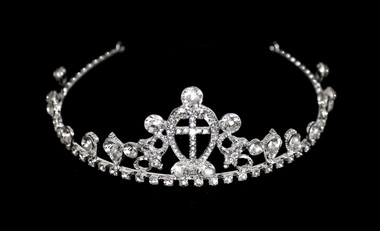 Noelle & Ava - Child Rhinestone Tiara With Cross