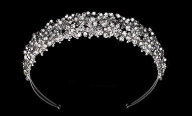 Noelle & Ava - Hand Wired Headband Of Assorted Size Rhinestones And Crystals