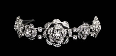 Noelle & Ava - Romantic Headband Of Rhinestone Encrusted Roses