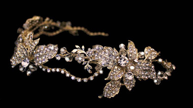 Noelle & Ava - Fanciful Curving Vine Soft Metallic Head Band With Rhinestone Encrusted Leaves And Flowers