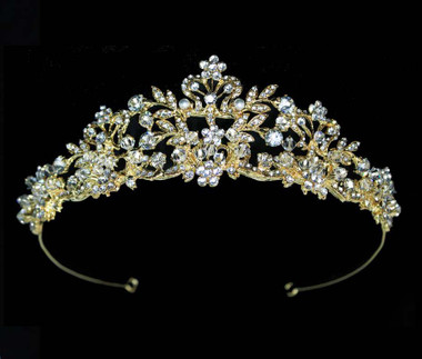 Noelle & Ava - Rhinestone Floral Tiara With Floating Hand Wired Crystals, Pearls And Rhinestone Encrusted Leaves