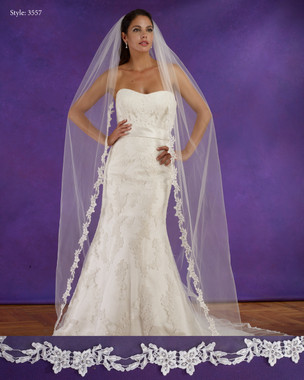 "Marionat Bridal Veils 3557 - 108"" Long beaded pearl Venice lace veil. lace starts 18"" down - The Bridal Veil Company"
