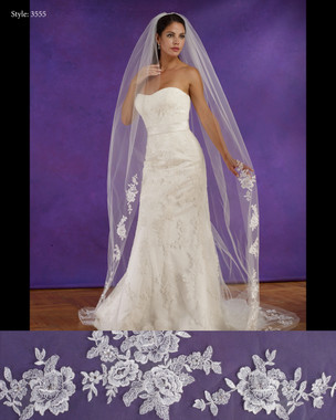 "Marionat Bridal Veils 3555 - 108"" Long lace appliques with cut edge - The Bridal Veil Company"