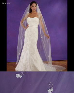"Marionat Bridal Veils 3556 - 108"" Long flower appliques - The Bridal Veil Company"