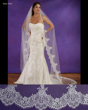 "Marionat Bridal Veils 3565 - 108"" Long chantilly lace veil, lace starts 19"" down - The Bridal Veil Company"