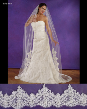 "Marionat Bridal Veils 3571 - 108"" Long lace edge veil, lace starts 42"" down - The Bridal Veil Company"
