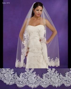 "Marionat Bridal Veils 3572 - 48""Long lace edge veil, lace starts 18"" down - The Bridal Veil Company"