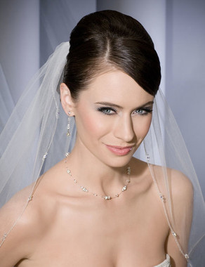 Bel Aire Bridal Veils V7054 - Metallic Silver Edge with Beads