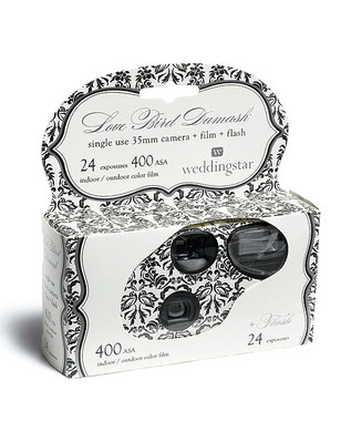 Single Use Love Bird Damask Wedding Camera Favor (24 Pack)