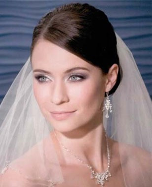 Bel Aire Bridal Accessory Veil V7010 -Two Tier Hip Length Veil with Crystal Beads