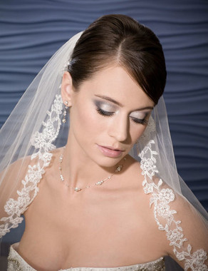 Bel Aire Bridal Wedding Veil V7018 - Fingertip Floral Alencon Lace - Quick Ship