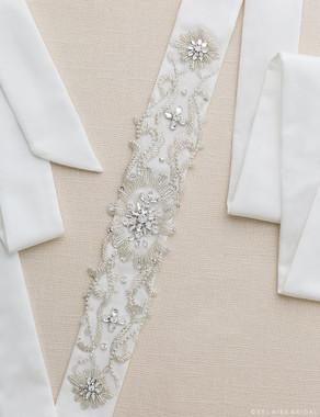 Bel Aire Bridal Belt BT014 - Scroll Beaded Design