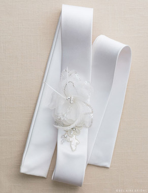Bel Aire Bridal Belt BT015 - Sequin Flower Belt