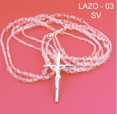 Crystal lazo with silver cross