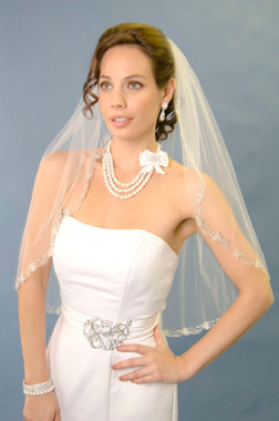 Ansonia Bridal Veil Style 971 - One tier elbow length veil with silver beaded edge