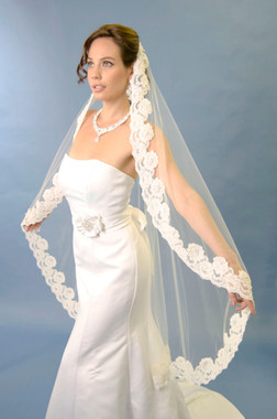 Ansonia Bridal Veil  Style 476 - One tier fingertip length mantilla veil with beaded alencon lace edge