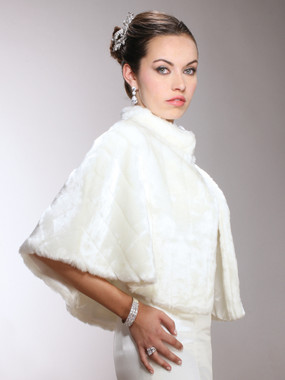 Faux Mink Pelted Fur Bridal Cape in White, Ivory or Jet Black