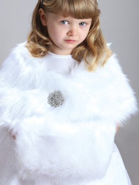 Child's White Faux Fur Hand Muff for Winter Weddings 3825M-W