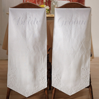 EMBROIDERED CHAIR BANNERS - BRIDE & GROOM