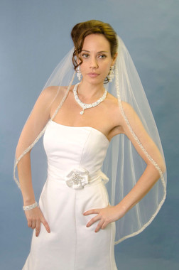 Ansonia Bridal Veil Style 264S - Sequin & Pearls Fingertip Veil