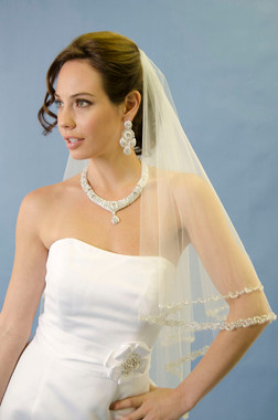 Ansonia Bridal Veil Style 259- Two Tier Beaded Edge Veil