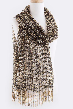 Sequin Wrap Shawl Formal Party Scarf Sheer
