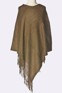 Brown-Special Occasion Fringe Cape Wrap Formal Party