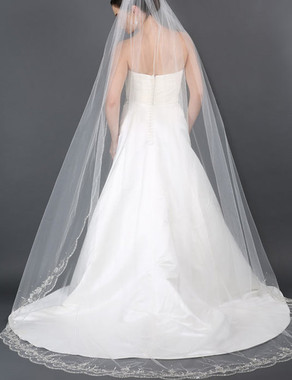 Bel Aire Bridal Veils V7176C- Cathedral Wedding Veil Scallop Embroidered Beaded veil