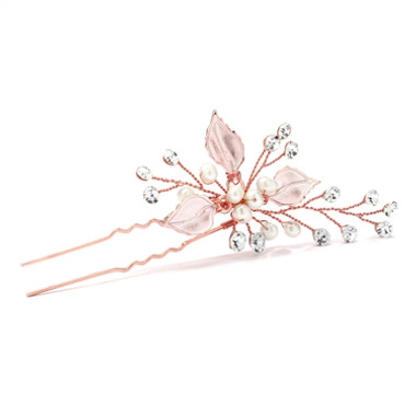 Mariell Bridal Hair Pin with Silvery Rose Gold Leaves, Freshwater Pearl and Crystal Sprays 4426HS-I-RG