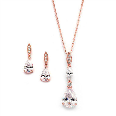 Rose Gold Bridal Necklace Set with Pave Top & Cubic Zirconia Pears 2030S-RG