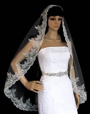 Noelle & Ava Collection - Romantic Silver Thread Alencon Lace Veil Accented With Rhinestones, Bugle Beads, Seeds And Sequins