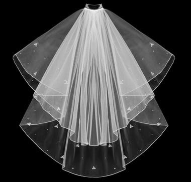 Noelle & Ava Collection - Marquise Cut Rhinestone Flowers And Single Rhinestones Scattered On Hemmed Edge Veil