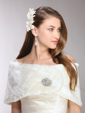 Pelted Faux Fur Bridal or Bridesmaid Vintage Wedding Wrap