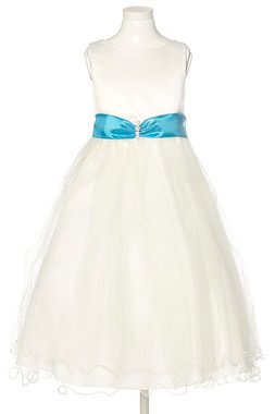 Sleeveless Organza Girls Dress with beaded sash (Ivory Color Dress)