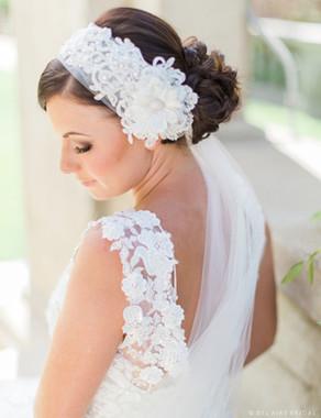 Bel Aire Bridal Accessory Headpiece 6444 -  Beaded Alençon Lace  with Side Flower Headband