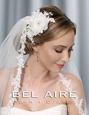 Bel Aire Bridal Accessory Headpiece 6325 -  Flower Comb with Alençon lace