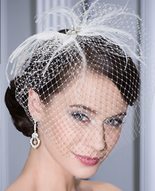 Bel Aire Bridal Accessory Headpiece 6080 - Comb with Sophisticated French Net