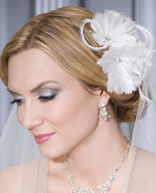 Bel Aire Bridal Accessory Headpiece 6087 - Comb with Stylish Double Feather Flowers