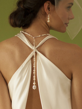 Ivory Pearl & Crystal Lariat Long Back Necklace 4080N