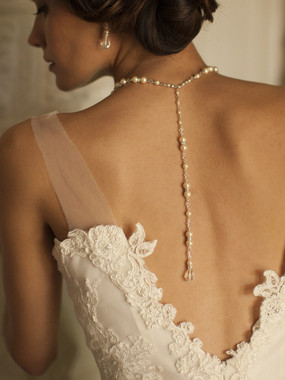 Wedding Back Necklace with White Pearls & Crystals