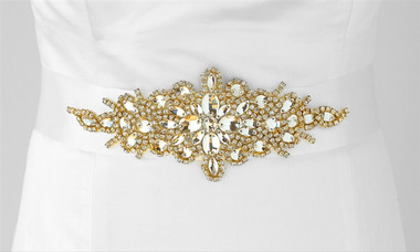 Satin Bridal Sash with Gold Austrian Crystal Starburst - White